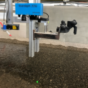 Dettaglio dello strumento di misura durante i test presso la VAW.