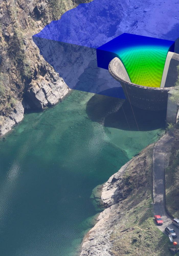 Fotomontaggio delle simulazioni numeriche 3D dello sfioratore a calice